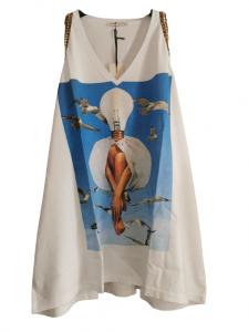 canotta donna   in cotone stampato   con scollo a V   modello morbido   con giromanica profilato borchie e leopard   Made in Italy