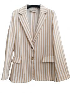 giacca donna   in viscosa di cotone   gessata beige   fondo panna   chiusura con due  bottoni  manica lunga   tasche anteriori   spacco centrale posteriore   made in Italy