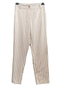 Pantalone donna | in viscosa di cotone | gessato beige | tasche laterali | Made in italy