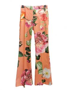 Pantalone donna in cotone| fantasia floreale | svasato al fondo | Made in italy