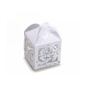 Scatolina bomboniera fiore in carta glitterata bianco cm 5,2 x 5,2 x 7,5 H