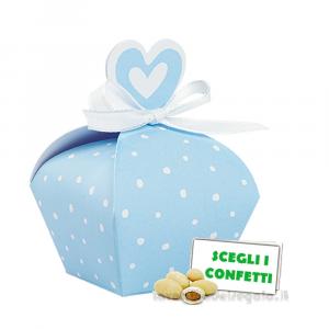 Portaconfetti Celeste a pois con cuore 3.5x5 cm - Scatole battesimo bimbo