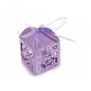 Scatolina bomboniera fiore in carta glitterata lilla cm 5,2 x 5,2 x 7,5 H