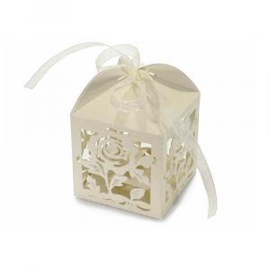 Scatolina bomboniera fiore in carta glitterata crema cm 5,2 x 5,2 x 7,5 H