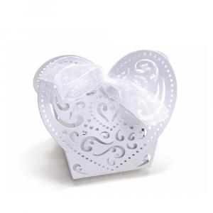 Scatolina bomboniera a cuore in carta perlata bianco cm 8,5 x 5 x 7,5 H