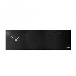 Orologio da muro organizer orizzontale Paperplan nero 100x30cm