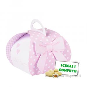 Portaconfetti Mini Cestino Rosa con fiocco 7x6.5x7.5 cm- Scatole battesimo bimba