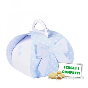 Portaconfetti Mini Cestino Celeste con fiocco 7x6.5x7.5 cm- Scatole battesimo bimbo