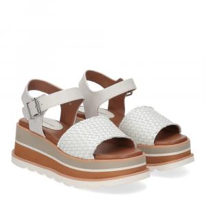 Rahya Grey sandalo Bea pelle bianco