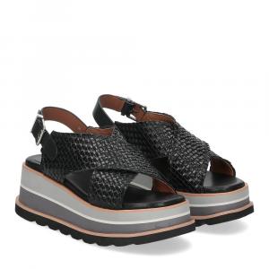 Rahya Grey sandalo bianca pelle nera