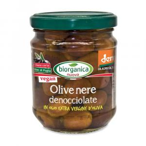 Olive nere denocciolate in olio extra vergine d'oliva Biorganica nuova