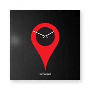 Orologio da muro You-are-here rosso/nero