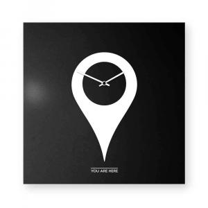 Orologio da muro You-are-here bianco/nero