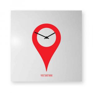 Orologio da muro You-are-here rosso/bianco
