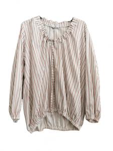 Camicia donna | cotone | fondo bianco con righino | manica lunga | scollo tondo | elastico in vita | Made in Italy