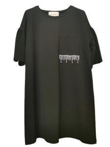 Miniabito donna | colore nero | tasca applicata anteriore con strass | manica 3/4 | cotone elasticizzato | Made in Italy