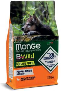 Monge cane BWILD Grain Free – Anatra con Patate – All Breeds Puppy & Junior 12 kg