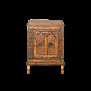 Mobiletto intagliato con anta in legno di teak