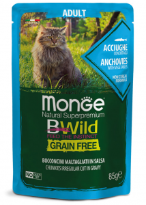 Monge bwild gatto Grain Free – Bocconcini maltagliati in salsa – Acciughe con Ortaggi – Adult