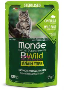 Monge bwild gatto Grain Free – Bocconcini maltagliati in salsa – Cinghiale con Ortaggi – Sterilised