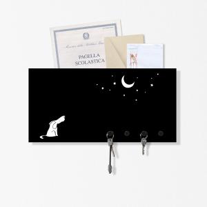 Portachiavi portalettere organizer Dog&Moon nero 40x20cm con 3 magneti