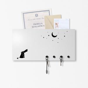 Portachiavi portalettere organizer Dog&Moon grigio chiaro 40x20cm con 3 magneti