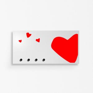 Portachiavi portalettere organizer Heart grigio chiaro 40x20cm con 3 magneti