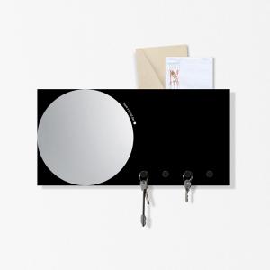 Specchio Portachiavi organizer Mirror&More nero 40x20cm con 3 magneti