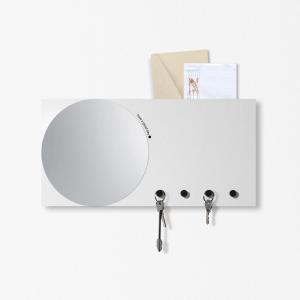 Specchio Portachiavi organizer Mirror&More grigio chiaro 40x20cm con magneti