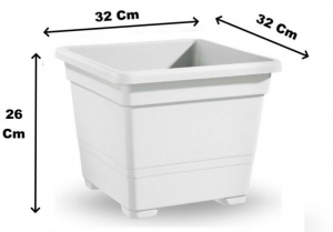 Vaso Quadrato 32 Bianco 32x32x26