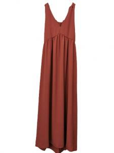 Abito donna   in viscosa di cotone color marsala    smanicato con nodi sulla spalla   taglaito in vita   lunghezza alla caviglia  Made in Italy