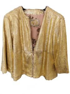 Giubbino donna pelle lavorata oro piccole frange fodera in raso Made in Italy