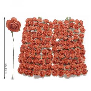Rosellina artificiale in carta rossa per bomboniera