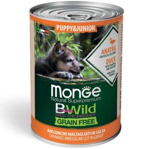 Monge Bwild Grain Free  Bocconcini maltagliati in salsa  Anatra con Zucca e Zucchine – Puppy & Junior