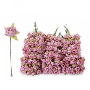 Rosellina in carta effetto velluto rosa