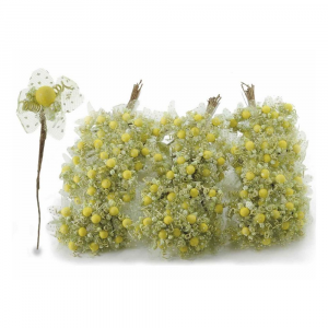 Fiorellino per bomboniera giallo acido con veletta