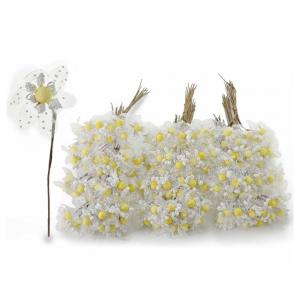 Fiorellino per bomboniera bianco con veletta
