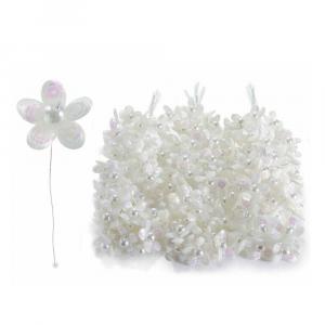 Fiorellino per bomboniera con perline e paillettes bianco