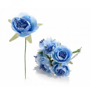 Anemone artificiale in stoffa azzurro con gambo modellabile