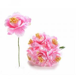 Anemone artificiale in stoffa rosa con gambo modellabile
