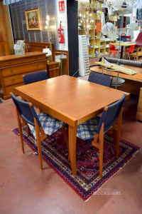 Wooden Table Callegaris With 4 Wooden Chairs And Cloth Blue