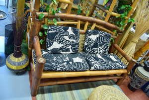 Sofa + 2 Armchairs + Cabinet In Bamboo Style Tribal