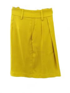 Bermuda donna viscosa gialla tasche laterali gamba larga Made in Italy