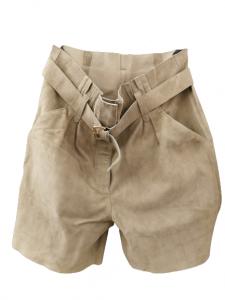 Bermuda donna  camoscio tinta salvia  tasche  laterali  cintura in vita  Made in Italy