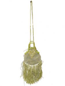 Borsina donna|verde acido|manici e tracolla|tulle e rafia|Made in Italy