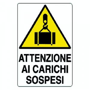 CARTELLO 'ATTENZIONE AI  CARICHI SOSPESI' cm 35 x 50