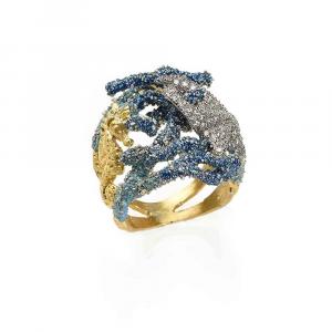 Anello con coralli e stella marina in argento, smalto azzurro, zirconi