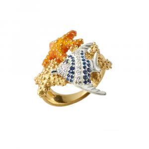 Anello con stelle marine e pesce in argento, smalto e zirconi