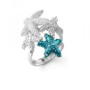 Anello con stelle marine in argento, smalto azzurro e zirconi