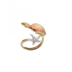 Anello design granchio e stella marina in argento, smalto e zirconi